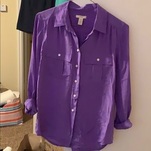 Purple J.Crew 100% silk blouse